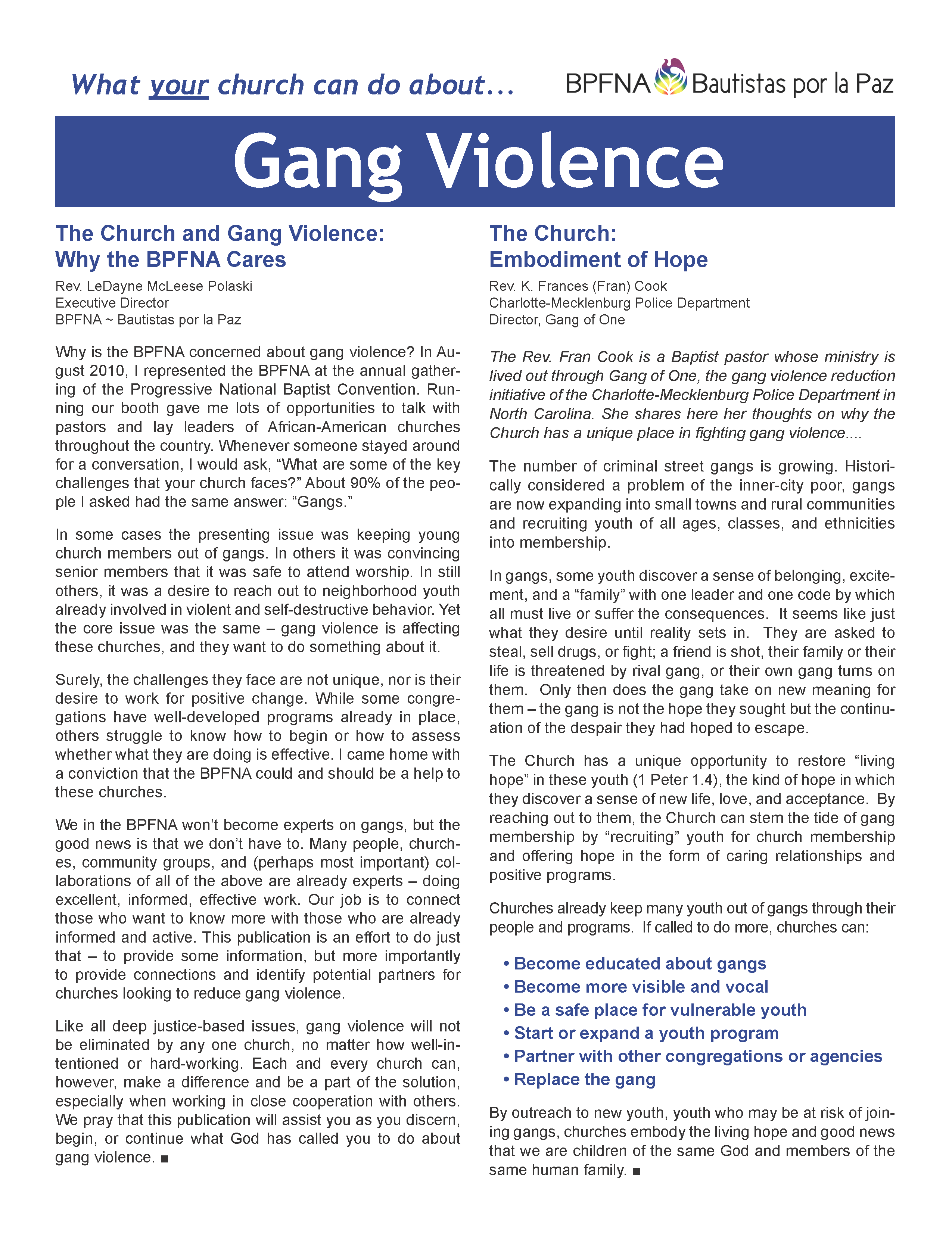 Thumbnail of What Your Church Can Do About... Gang Violence